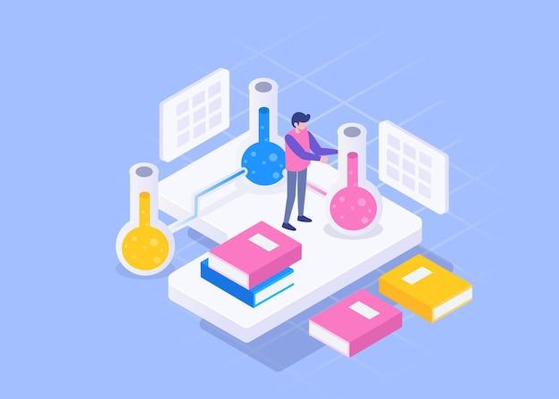 Visuele jonge medische man aan het werk in het laboratorium van het ziekenhuis, medisch en gezond concept, isometrische illustratie