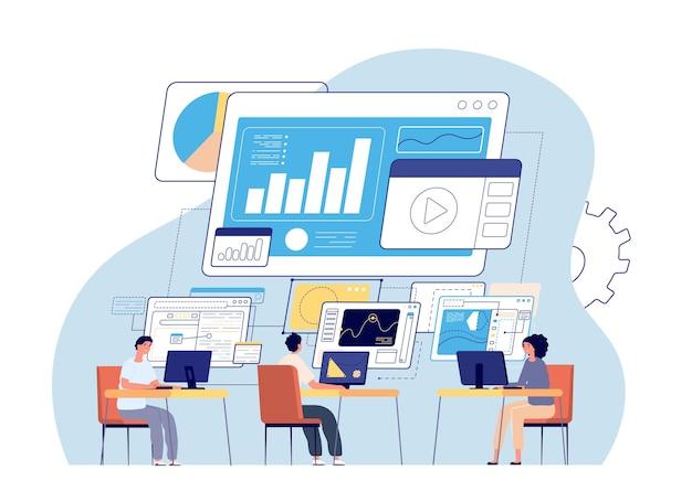 Visuele statistieken. datavisualisatie, creatieve kantoormensen en dashboard. bedrijfstechnologie, werkende programmeursvector gegevensinfographic, analyse van digitale statistieken, dashboardillustratie