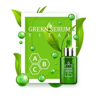 Vital serum druppelflesje versierd met groene bladeren op witte achtergrond. huidverzorging vitamine formule behandeling ontwerp. schoonheid productconcept. vector