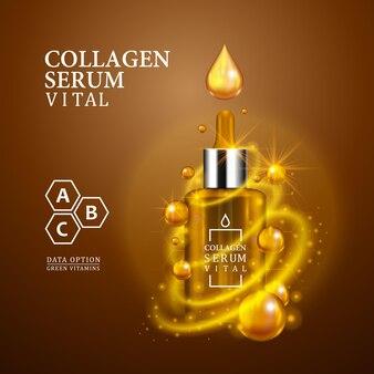 Vital serum gouden druppelflesje op lichtbruine achtergrond. realistische flesweergave met magische vitale druppels en glitters. vitamine formule behandeling ontwerp. reclameconcept. vector illustratie.