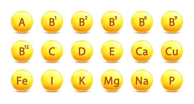 Vitamine a, b1, b2, b5, b6, b9, b12, c, d, e, ca, cu, fe, i, k, mg, na, p-pil goud. vitaminecomplex en essentiële vitamines. voeding teken. geneesmiddel.