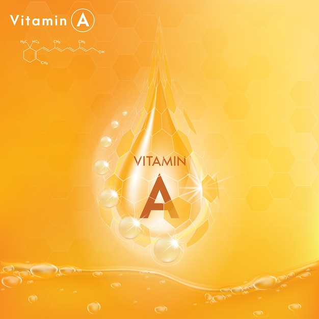 Vitamine a en structuur. 3d vitaminecomplex met chemische formule.