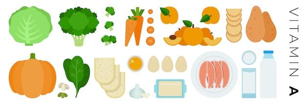 Vitamine a voedingsmiddelen set