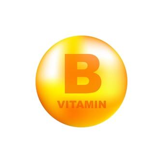 Vitamine b met realistische druppel op grijs