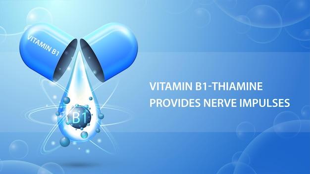 Vitamine b1, blauwe informatieposter met abstracte pilcapsule met druppel vitamine b1