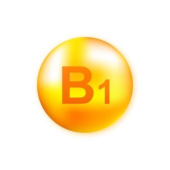 Vitamine b1 met realistische druppel op grijs