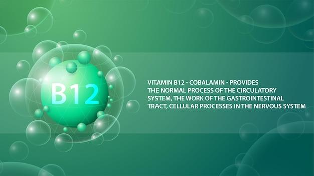 Vitamine b12, groene informatieposter met abstracte medicijncapsule van vitamine b12