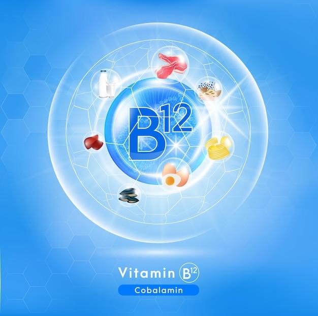 Vitamine b12-pictogram glanzend blauw vitaminecomplex met chemische formule Premium Vector