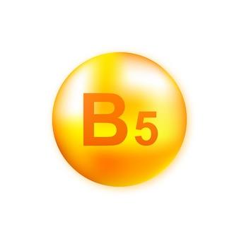 Vitamine b5 met realistische druppel op grijs