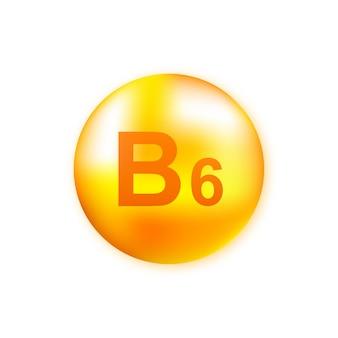 Vitamine b6 met realistische druppel op grijs
