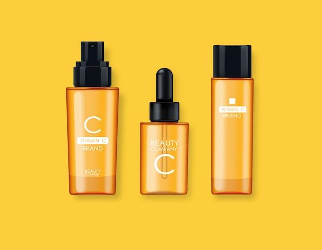 Vitamine c-cosmetica, masker, crème en serum, schoonheidsbedrijf, huidverzorgingsfles, realistische verpakking en verse citrus, behandelingsessentie, schoonheidscosmetica