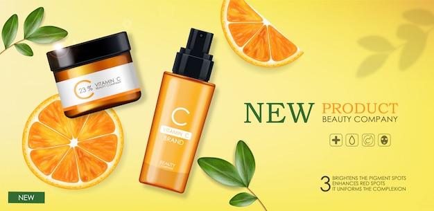 Vitamine c crème en serum set, schoonheidsbedrijf, huidverzorgingsfles, realistisch pakket en verse citrus, behandelingsessentie, schoonheidscosmetica, gele achtergrond