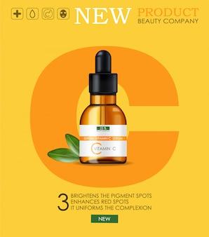 Vitamine c-serum, schoonheidsbedrijf, huidverzorgingsfles, realistische verpakking en verse citrus, behandelingsessentie, schoonheidscosmetica, gele achtergrond