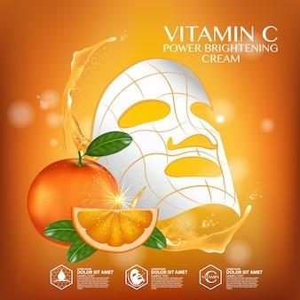 Vitamine c-serumadvertenties met verfrissende citrussecties en druppelflesje
