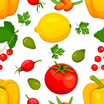 Vitamine c voedselbron vectorillustratie. voedingsmiddelen die ascorbinezuur bevatten. groenten en fruit.citroen, peper, tomaat, duindoorn, rode bes, kaketoe-pruim, wilde roos. vector illustratie