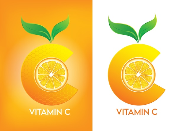 Vitamine c voor schoonheid van de huid cosmetische promo-advertenties design.