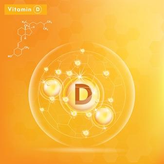 Vitamine d en structuur. 3d vitaminecomplex met chemische formule.