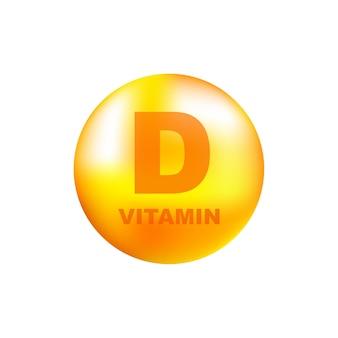 Vitamine d met realistische druppel op grijs