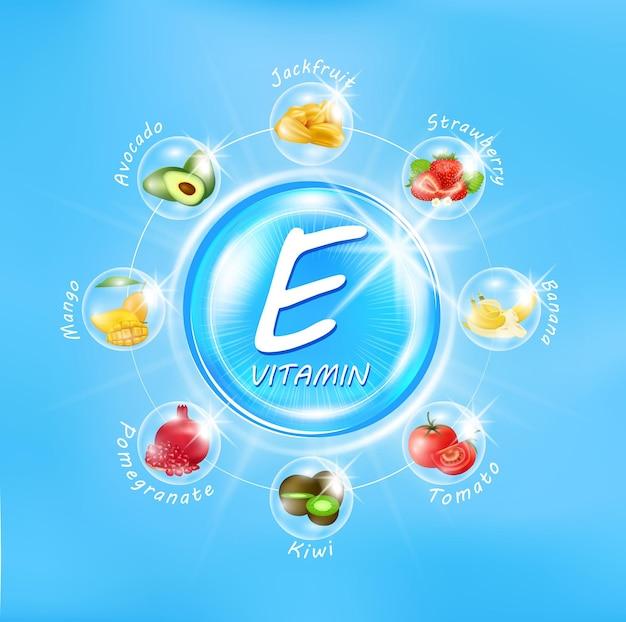 Vitamine e blauwe glanzende pilcapsule complex met chemische formule