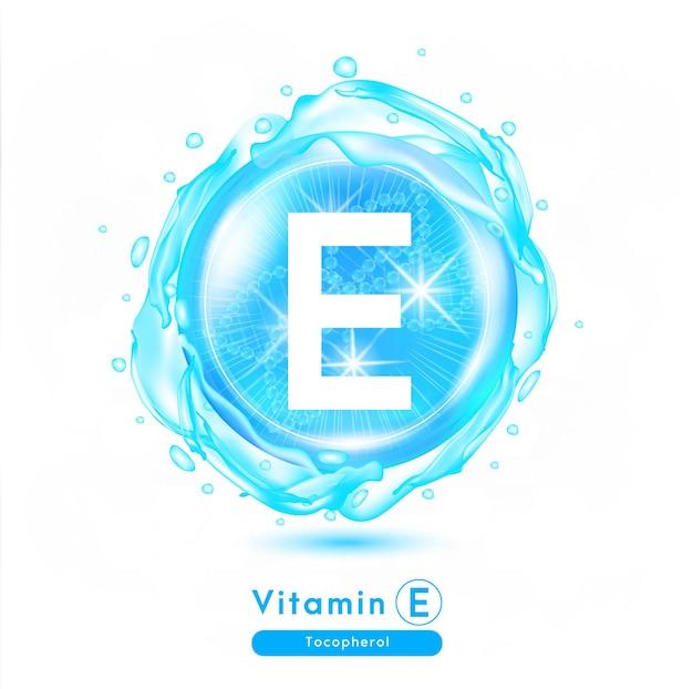 Vitamine e blauwe glanzende pilcapsule vitaminecomplex met chemische formule meds voor gezondheidsadvertenties
