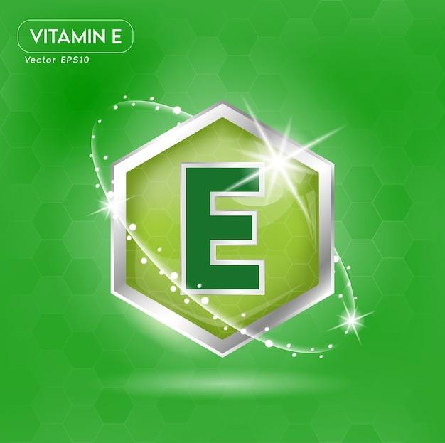 Vitamine e-concept in groene letters in zilveren frame.