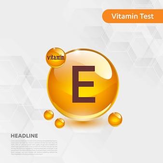 Vitamine e icon collection vector illustratie gouden druppel voedsel