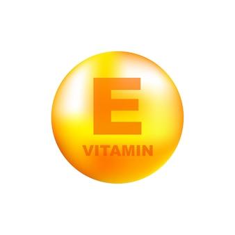 Vitamine e met realistische druppel op grijs
