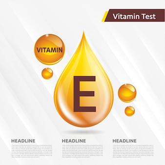 Vitamine e pictogram gouden sjabloon