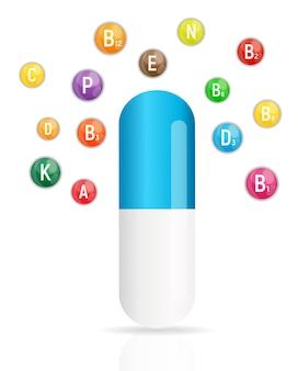 Vitamine- en antioxidantencomplex. vectorillustratie