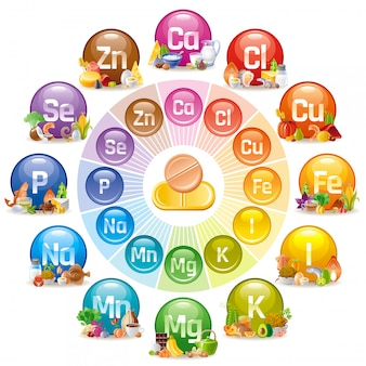 Vitamine en mineraal supplement icon set. multivitamine complexe illustratie.