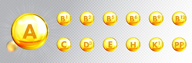Vitamine gouden capsules, 3d gouden druppels. huidverzorging anti-age en voedingssupplement multivitaminecomplex