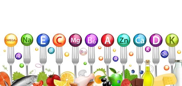 Vitamine minerale ballen en voedingsmiddelen die rijk zijn aan vitaminen vector illustratie gezonde voeding dieet natuurlijke ...