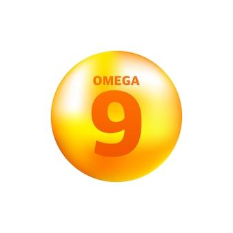 Vitamine omega 9 met realistische druppel op grijs