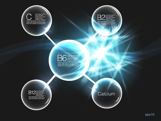 Vitaminecomplex met chemische formule