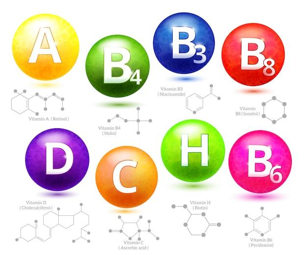 Vitaminen chemische structuren. molecuul vitamine, moleculaire chemische vitamine, vitamine structuur chemie, vector illustratie