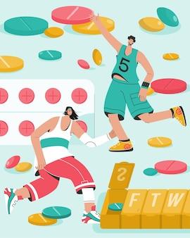 Vitaminen en sport voedingssupplementen concept