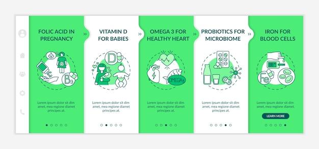 Vitaminen en supplementen onboarding vector sjabloon