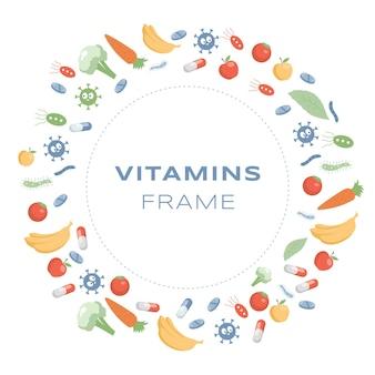 Vitaminen ronde frame platte cartoon illustratie supplementen en mineralen