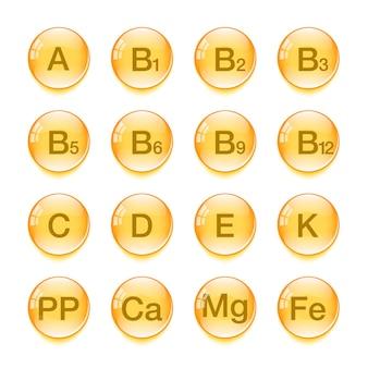 Vitaminen vector iconen. vitamine-complex. voedingstekens, geïsoleerd. vitaminen groep. vector illustratie