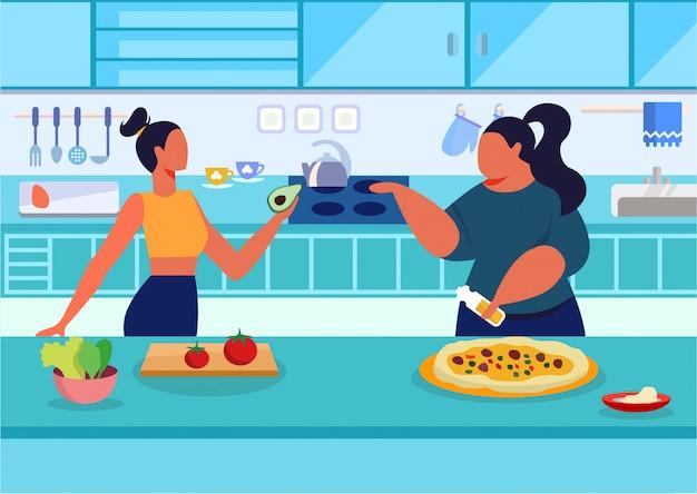 Vitaminen versus calorieën platte vectorillustratie