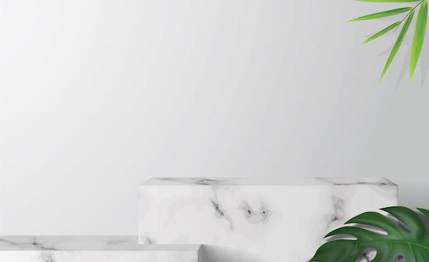 Vitrine podium met marmeren doos