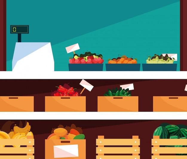 Vitrine store met vers voedsel en kassa machine
