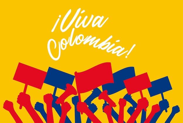 Viva colombia-kaart met protesterende handen van colombianen