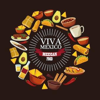 Viva mexico belettering en mexicaans eten met menu rond.