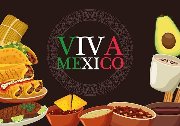 Viva mexico belettering en mexicaans eten poster met vlagkleuren.