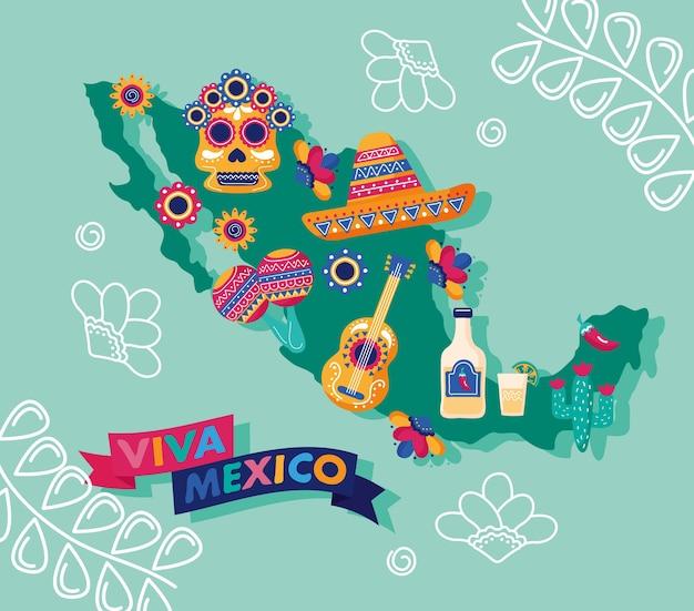 Viva mexico feestdag belettering met mexicaanse kaart en stel pictogrammen