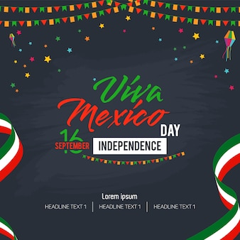 Viva mexico happy independence day vector achtergrond