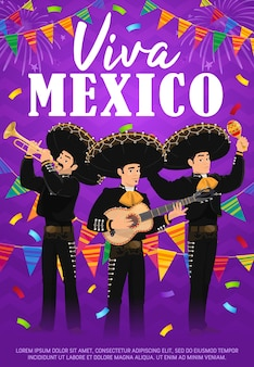 Viva mexico vector poster met mariachi band.