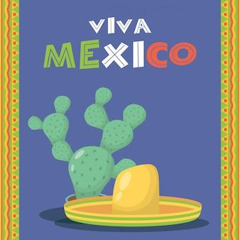 Viva mexico-viering met cactus en hoed