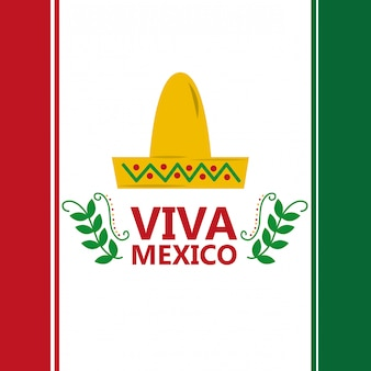 Viva mexico vlag hoed traditioneel kostuum afbeelding